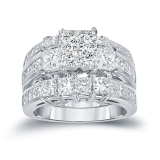 Auriya 14k Gold 2ct TDW Princess-cut Diamond 3-Stone Bridal Ring Set - White H-I