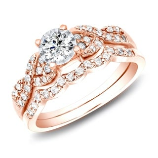 Auriya 14k Rose Gold 3 5ctw Braided Round Diamond Engagement Ring Set