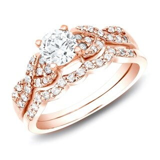 Auriya 14k Rose Gold 3/4ct TDW Twisted Infinity Diamond Engagement Ring Set