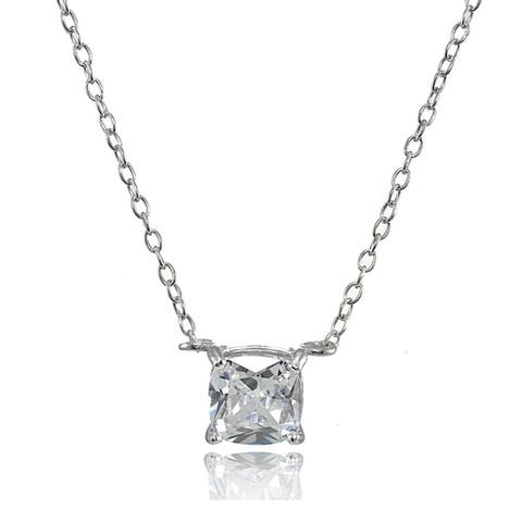 ICZ Stonez Sterling Silver Cubic Zirconia 6mm Cushion-cut Necklace