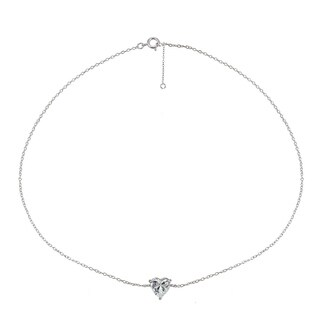 ICZ Stonez Sterling Silver Cubic Zircnoia Heart Solitaire Chain Anklet