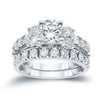 14k Gold 1 1/2 ct TDW Round Diamond Engagement Ring Set by Auriya - White H-I