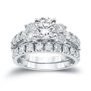 Auriya 14k Gold 1 1/2 ct TDW Round Diamond Engagement Ring Set - White H-I