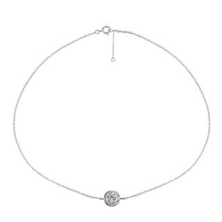 ICZ Stonez Sterling Silver Cubic Zirconia Round Bezel-Set Chain Anklet