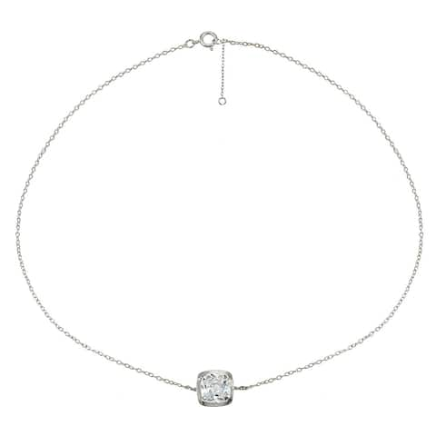 ICZ Stonez Sterling Silver Cubic Zirconia Cushion-cut Bezel-Set Chain Anklet