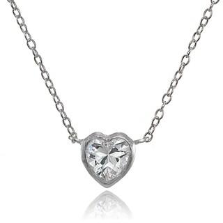 ICZ Stonez Sterling Silver Cubic Zirconia Bezel-Set Heart Necklace