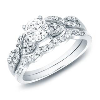 Auriya 3/4ctw Braided Twist Diamond Engagement Ring Set 14k Gold