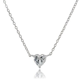 ICZ Stonez Sterling Silver Cubic Zirconia 6mm Heart Solitaire Necklace