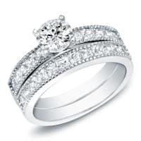 14k Gold 1 1/4 ct TDW Round Channel-Set Diamond Engagement Ring Set by Auriya - White H-I