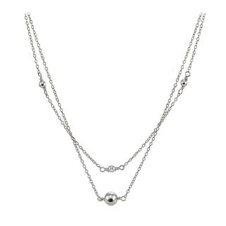 Mondevio Sterling Silver Polished Ball Layered Choker Necklace