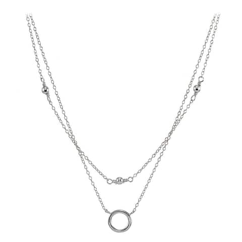 Mondevio Sterling Silver Polished Circle Layered Choker Necklace