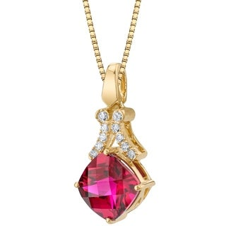 Oravo Lab-Created 4.00 Ct Ruby 14K Yellow Gold Cushion-Cut Swivel Pendant