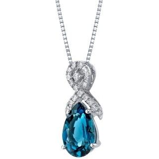 Oravo Genuine 3.00 Ct London Blue Topaz 14K White Gold Pear-Shaped Ribbon Pendant