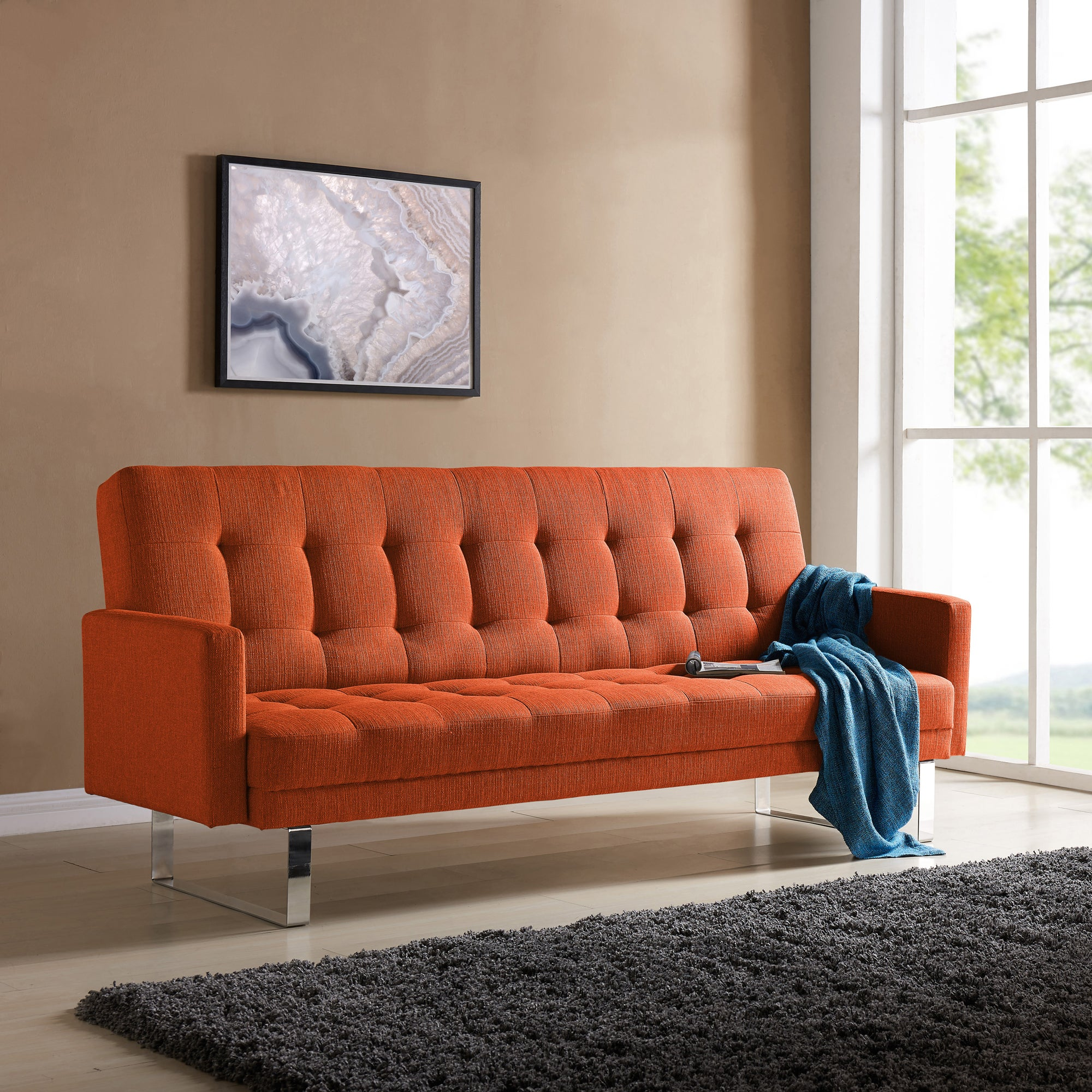 Strange Handy Living Springfield Orange Linen Click Clack Futon Sofa Bed Caraccident5 Cool Chair Designs And Ideas Caraccident5Info