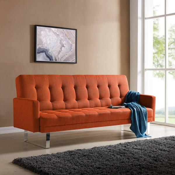 Orange Small Couch For Sale: Shop Handy Living Springfield Orange Linen Click Clack