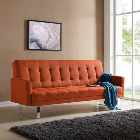 Handy Living Springfield Orange Linen Click Clack Futon Sofa Bed