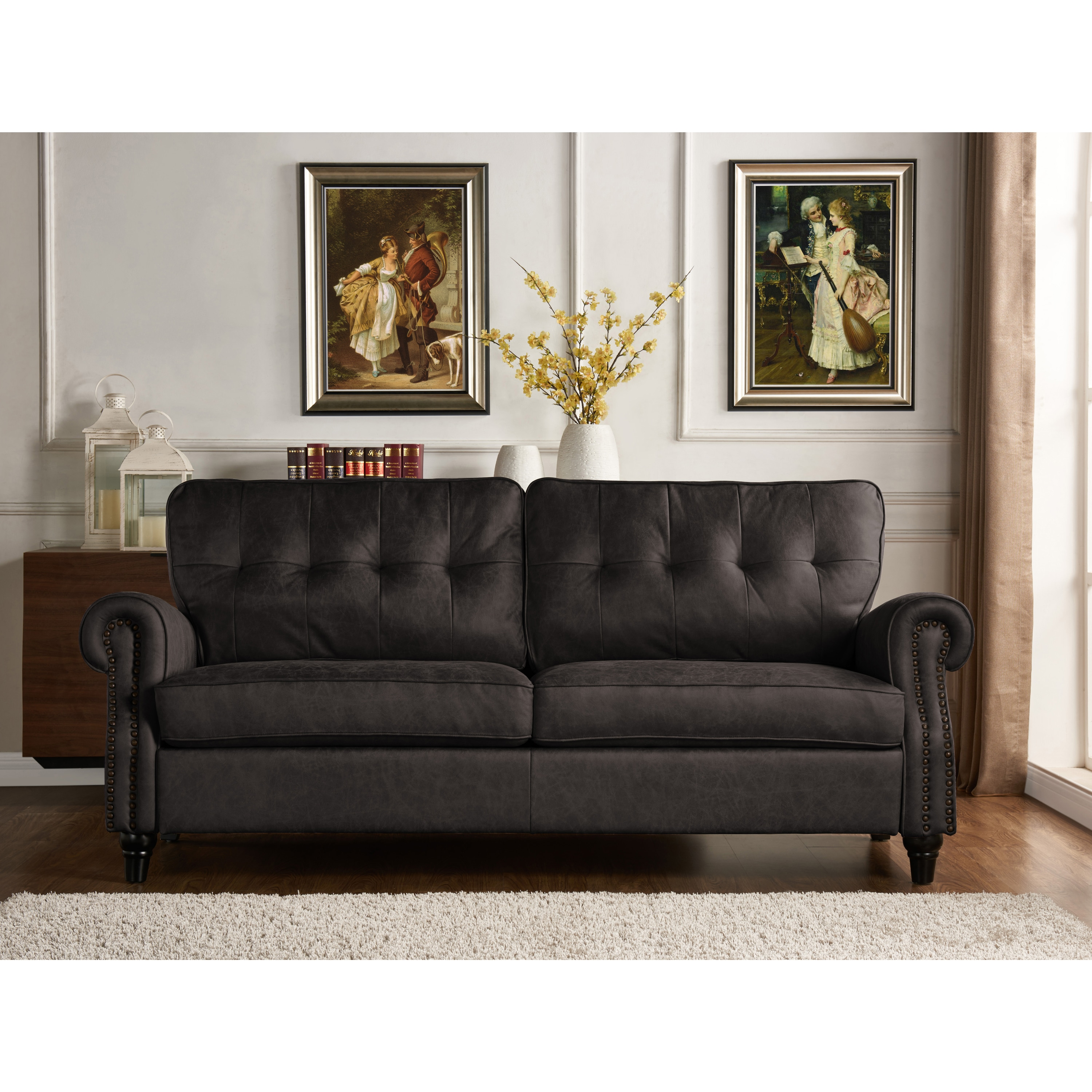 Picture of: Grey Three Seater Sofa Bed In Brown Or Grey Air Leather Distressed Finish Faux Leather Couch Settee With Wood Detail Legs Sofas Couches Home Kitchen