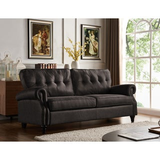 Handy Living Victoria SoFast Sofa In Grey Distressed Faux Leather