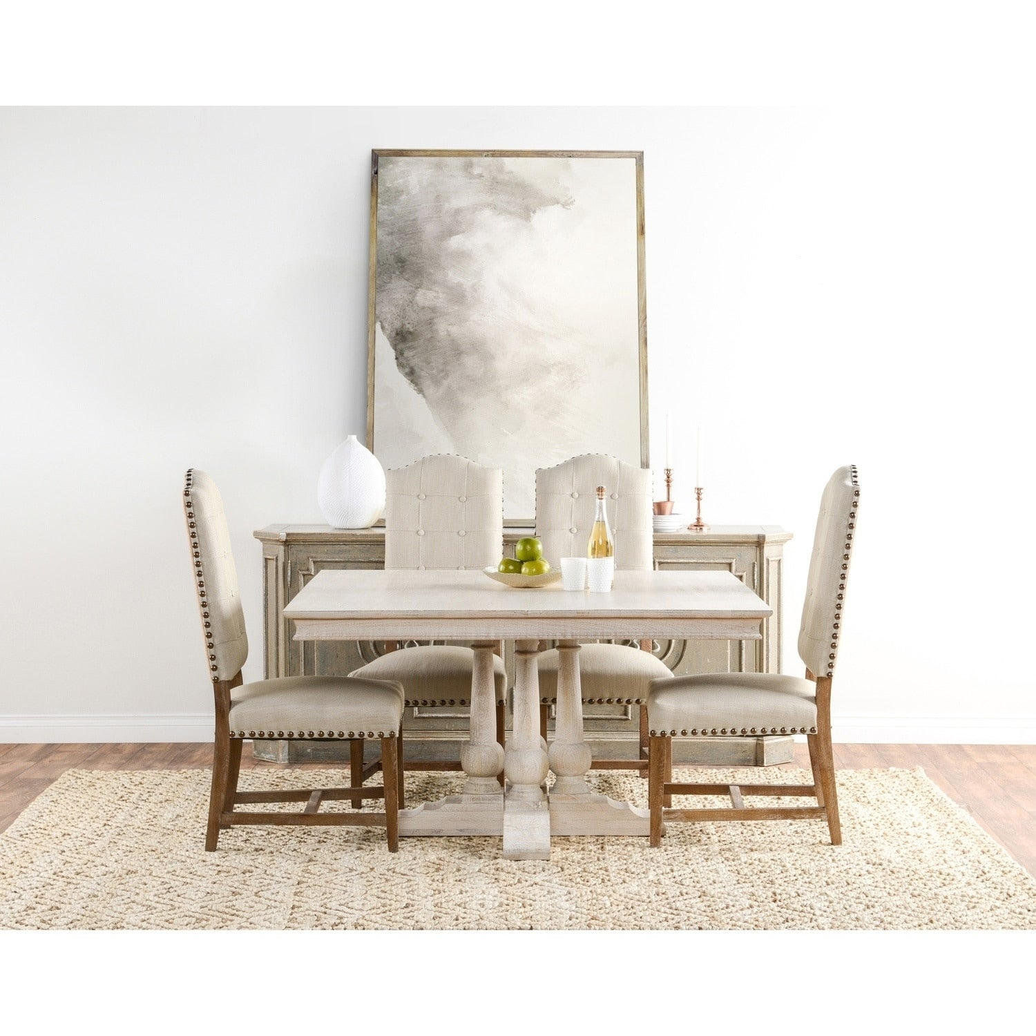 Superbe Norman Solid Wood 54 Inches Square Dining Table By Kosas Home   Antique  White
