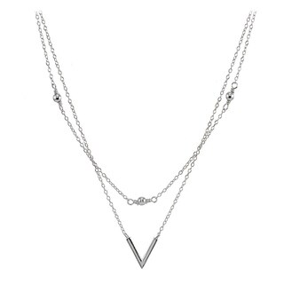 "Mondevio Sterling Silver Polished ""V"" Layered Choker Necklace"