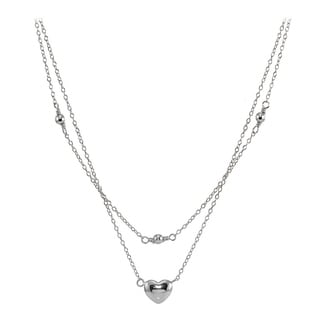 Mondevio Sterling Silver Polished Heart Layered Choker Necklace