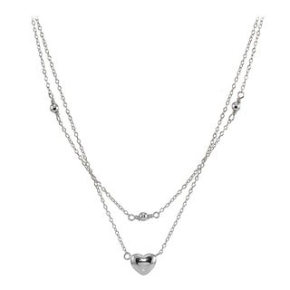 Mondevio Sterling Silver Polished Heart Layered Choker Necklace (3 options available)
