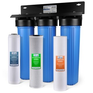 iSpring Iron & Lead Reducing Whole House Water Filter Big blue 3 stage system w/ 20-Inch Sediment, Carbon Block Filter-WGB32B-PB