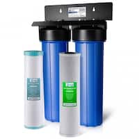 iSpring 2-Stage Iron Manganese Reduction Big Blue Whole House Water Filtration System with 20-Inch Carbon Block Filter