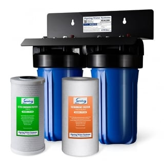 """iSpring 2-Stage Whole House Big Blue Water Filtration System w/ 4.5""""X10"""" Sediment and Carbon Block Filters- WGB21B"""