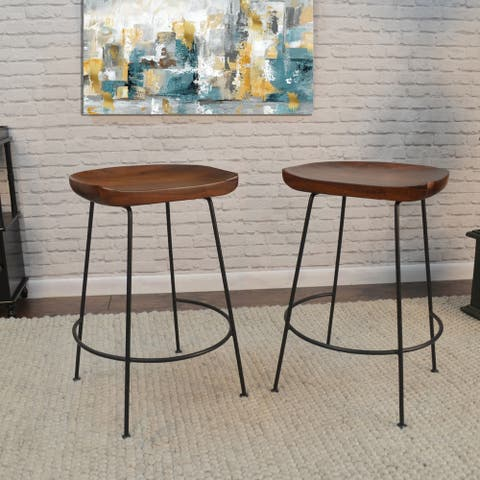 Mabel Scooped Seat Stool, Set of Two