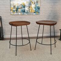 Mabel Scooped Seat Chestnut Stool, Set of Two