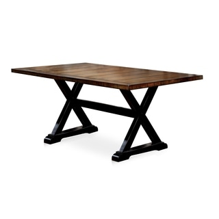 Furniture of America Lara Farmhouse Style Two-tone Antique Oak & Black 68-inch Dining Table