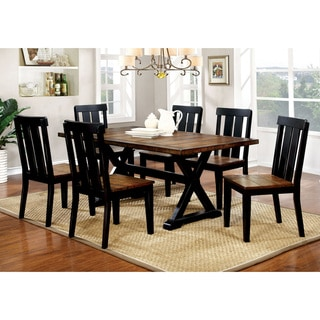 Furniture of America Lara Farmhouse Oak Solid Wood 7-piece Dining Set
