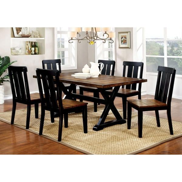furniture of america lara farmhouse style 7 piece two tone antique oak black dining set free. Black Bedroom Furniture Sets. Home Design Ideas
