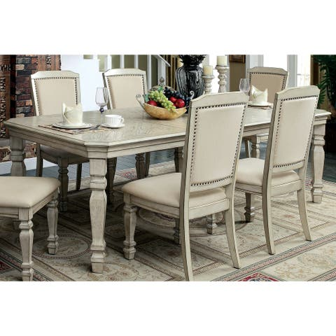 Furniture of America Damm Transitional White 100-inch Dining Table