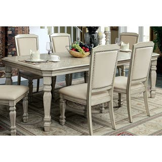 furniture of america caplin traditional antique white dining table with 18 inch leaf - Antique Dining Table