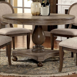 Furniture Of America Lelan Traditional Rustic Round 48 Inch Dining Table