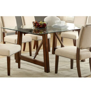 furniture of america valentin rustic glass top brown cherry dining table. beautiful ideas. Home Design Ideas