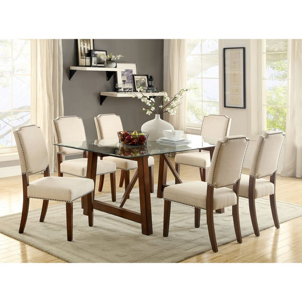 Valentin Contemporary Rustic 7 Piece Brown Cherry Dining Set