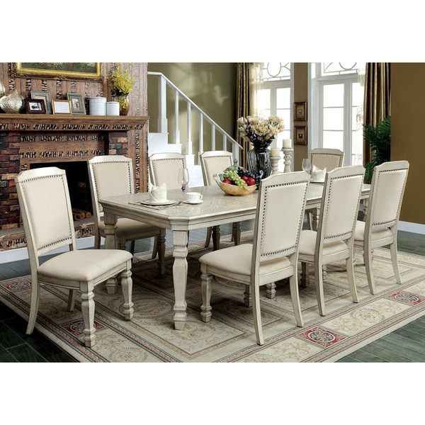 Bon Furniture Of America Caplin Traditional 9 Piece Antique White Dining Set  With 18 Inch