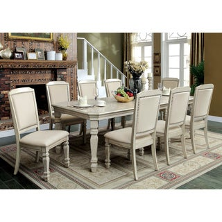 Furniture of America Caplin Traditional 9-piece Antique White Dining Set with 18-inch Leaf