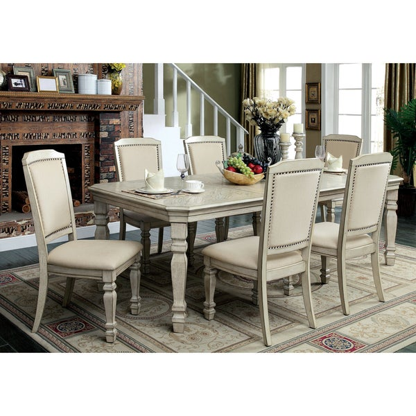 Charmant Furniture Of America Caplin Traditional 7 Piece Antique White Dining Set  With 18 Inch