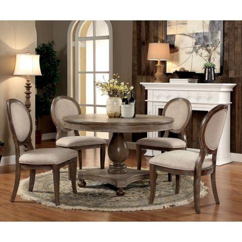 Furniture of America Kavy Rustic Oak 5-piece Round Dining Set