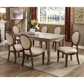 Furniture of America Kavy Rustic Oak Solid Wood 7-piece Dining Set