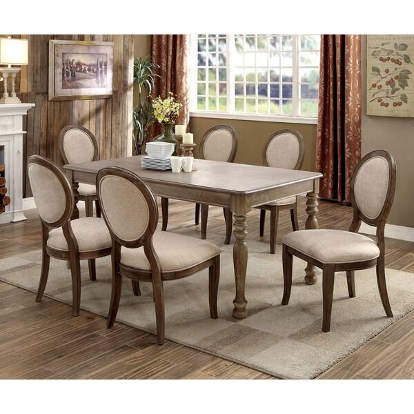 Furniture Of America Lelan Rustic Country 7 Piece Dark Oak/Ivory Dining Set