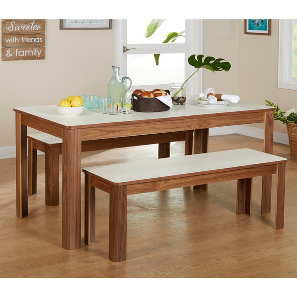Beau Simple Living Dex 3 Piece Breakfast Table And Bench Set