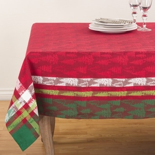 Plaid Christmas Tree Design Pattern Cotton Table Topper Tablecloth