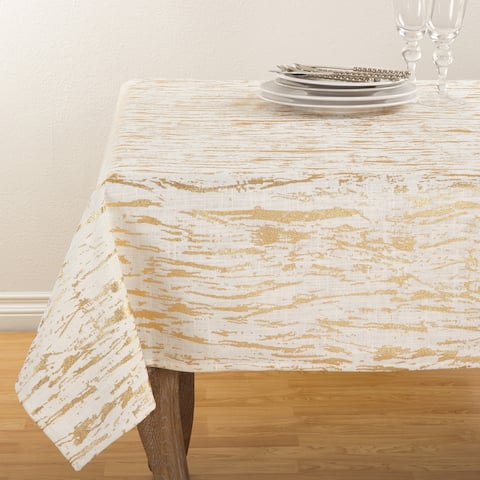 Distressed Foil Metallic Design Glam Cotton Table Topper Tablecloth - 54 x 54