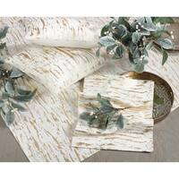 Distressed Foil Metallic Design Glam Cotton Table Topper Tablecloth