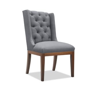 South Cone Home Marina Grey Linen/Wood Tufted Chair
